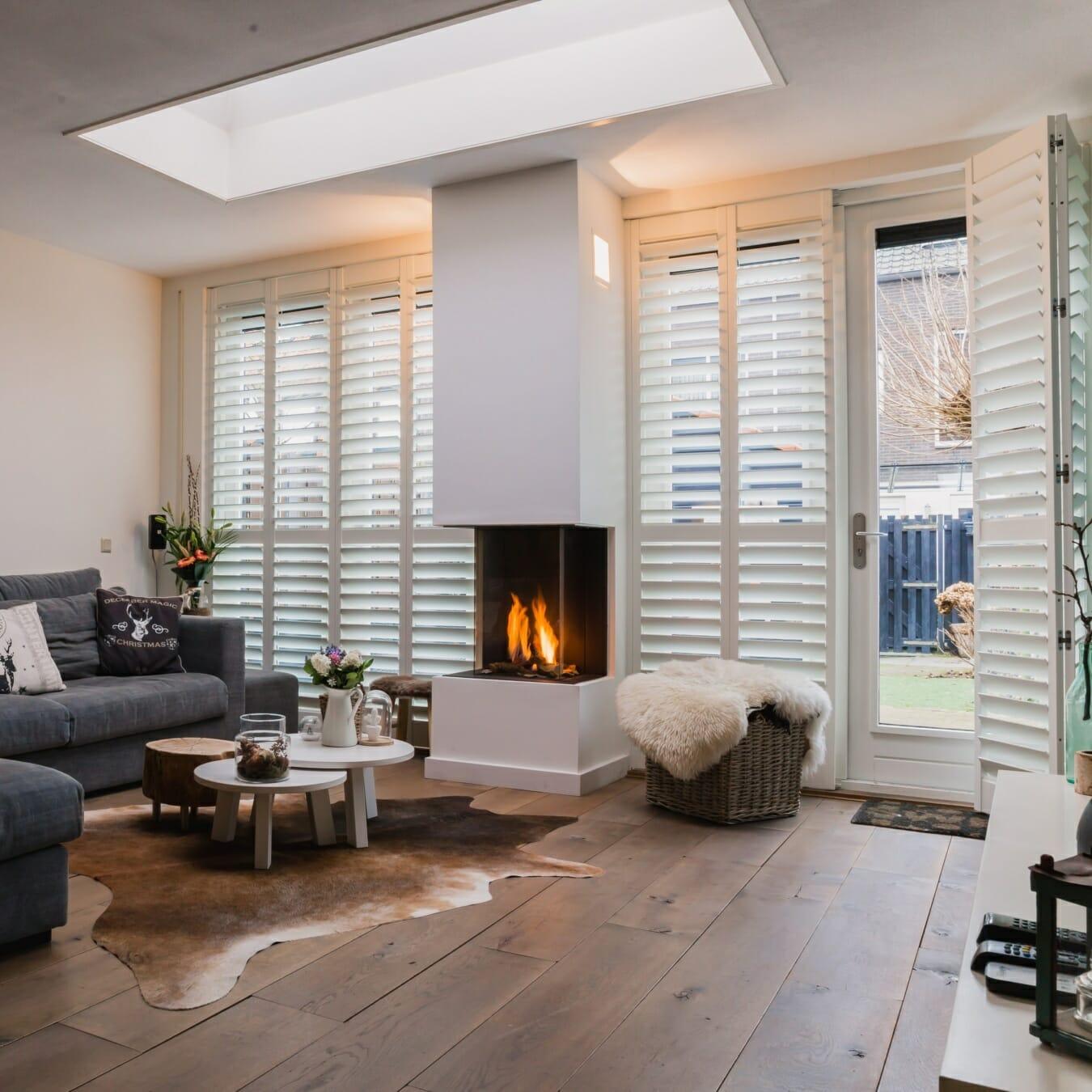 Zonnelux shutters wit buitendeur+raam